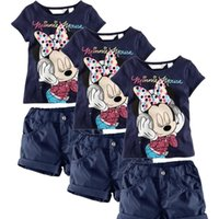 Cheap Baby Kids Girls Summer Clothing Minnie Mouse Tops T-Shirts + Shorts Outfits 1-6Y