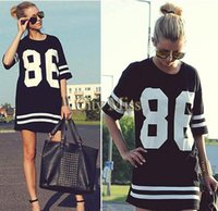 Cheap 2014 Fashion Summer Oversized College Loose Dress 86 Print Baseball Tee T-shirt Short Sleeve Top Black M-XL 50