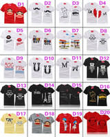 Wholesale 20 styles choose Cartoon Korean Lovers Summer Original Sweet Personality Couple T shirt Short Sleeve Valentine Wife Boyfriend Girls T01