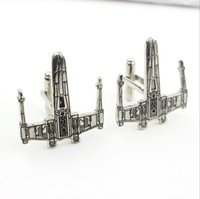 Wholesale Mosu High Quality Movie Star Wars Cufflink Fighter Silver Aircraft Cuff Links for Mens Party Jewelry