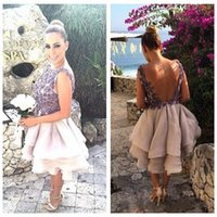 adorn beach shorts - Sexy V Shape Back Flowers Adorned Ball Gown Wedding Dresses Pleated Short Organza Bridal Gowns Beach For Wedding Party Women Dress