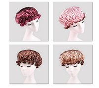Wholesale new Double printing Shower Cap Waterproof Bathing Cap Dot Printed Bath Hat EVA Take a shower cap