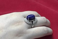 Wholesale Natural Lapis Gemstone Ring Silver Platinum Plating Fashion DESIGNS IN RANDOM DELIVERY