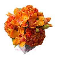artificial orange tree - Orange Orchid Cauliflower Flower Latex Display Home Decorative Artificial Flower Christmas Party Event Flower