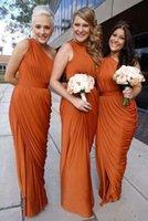 Cheap Burnt Orange Long Bridesmaid Dresses One Shoulder Fall Wedding Party Dresses Plus Size Maid Of Honor Dresses