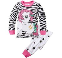Wholesale Cartoon Pony stripes Pajamas Christmas Children Autumn Winter Cotton Pyjamas long Sleeve Pants Suit Kids Clothes set DHL Free