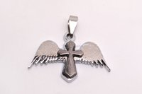 Wholesale FREE Cross Angel Wings Black Silver P Bead Pendant Fit Necklace