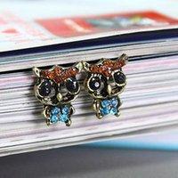 Wholesale 2015 Hot Rhinestone Cute Vintage Ear Stud Earrings Women Fashion Jewelry Lady For Owl