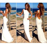 Wholesale 2016 Sexy Evening Dresses Sleeveless Maxi Gown Jewel Back Evening Dress Long Evening Gowns Prom Dresses Special Occasion Dresses