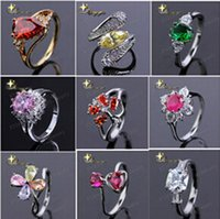 Wholesale fashion silver alloy Crystal Finger Ring Boutique Gemstone Rings Jewelry Women Ring Gift mix designs XY