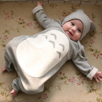 baby long sleeve bodysuits - 2015 Kid Infant Cartoon Romper with Hats Newborn Baby Totoro Design Cute One Pieces Bodysuits Rompers Boys Girls Toddler Fall Winter