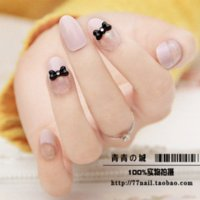acrilic nail art - Elegant Black Bow Nail Art Patch False Finger Artificial Acrilic Nail Display Decals Tips display hardware