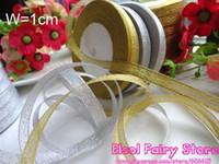 Wholesale 10mm Gold Silver Ribbon for Gift Wrap Deco Holiday Present Wrapping Ribbon yards