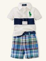 Wholesale 2015 new summer children clothing set boy s casual grid beach set t shirt shorts kids pajamas suit brand y