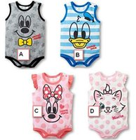 Cheap Baby Clothes Boys One-piece Girls Rompers 2015 Summer Infant Romper Cute Cartoon Animal Mouse Duck Printed Sleepsuit Bodysuit I3864