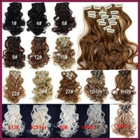 Wholesale Length cm Inch g set Wavy Synthetic Hair Long Curly Clip In Hair Extensions pieces A5