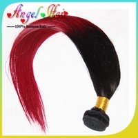 Ombre Color 100g Straight Fashion 2pc lot Red&Black ombre virgin hair malaysian hair straight,12-28inch 3.5oz pc red cosplay wig, remy two tone human hair weave
