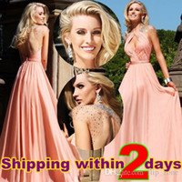 Wholesale Sexy Illusion Back Spring Cheap Prom Dresses with Sheer Crew Neck Cap Sleeve Backless Hollow Crystal Chiffon Long Formal Party Gowns