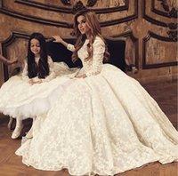 Wholesale 2015 Lace Wedding Dresses Jewel Neckline Long Sleeves handmade flower new korean wedding dress fashion Dress party evening bridal gowns L_Z