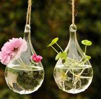 Wholesale Hanging Drop Round Crystal Flower Vase Hydroponic Container Home Decor Exquisite