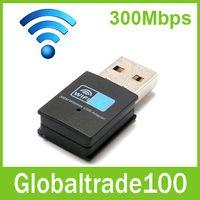al por mayor adaptador de red inalámbrico externo-Mini Negro 300 M USB WiFi inalámbrico red externa adaptador de tarjeta de 300Mbps adaptadores 802.11 n / g / b 50pcs de alta calidad libre de DHL