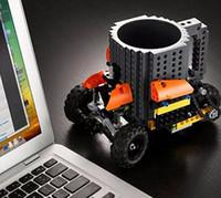 coffee mugs - Creative DIY Build on Brick Mugs Lego Pixel Blocks Mega Blocks KRE O K NEX Compatible Bricks cartoon Coffee drink Cup Drinkware colors