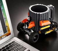 Creativo Construir-en ladrillo Tazas Lego Blocks Pixel <b>Mega Blocks</b> KRE-O K'NEX Ladrillos compatibles animados bebida del café 9colors Copa Vasos DIY