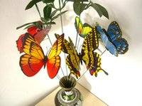Wholesale 200Pcs at least Patterns cm Mixed Size Fake Artificial Butterfly on Wire Sticks Picks Garden Yard Stake Flower Plant decorations