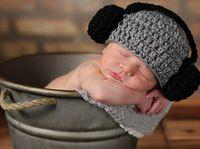 Wholesale Crochet Hat Headphone - Free Shipping Crochet Headset Hat Baby Headphone Knitted Hat Winter Infant Toddler Headwear Newborn Children Beanie Cotton Photographic prop