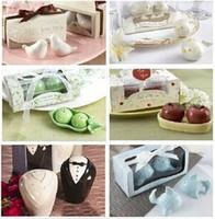 Wholesale Free EMS DHL Sets Mixed Salt Pepper Ceramic Shakers Seasoning Pot Cans Caster Kitchen Tool Wedding decoration Party Favor supplies