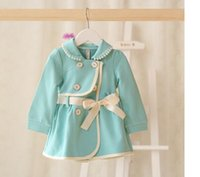 beaded trench coats - 2015 Latest Korean Style Girls Beaded Turn down Collar Fashion Trench Coat Childrens Spring Casual Double Breasted Coat