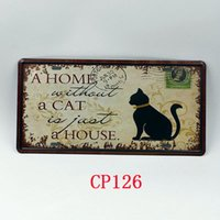 Wholesale CP126 Home with cat license plate Vintage Metal Tin Signs Bar Pub Cafe Home Art Metal Signs Size about cm