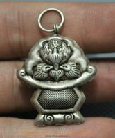 Wholesale New Old Tibet Miao Silver Winged Garuda Redpoll God Statue Amulet Necklace Pendant