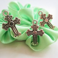 accessories crucifixes - 200pcs MM Tibetan Silver Plated Pewter Tone Crucifix Cross Zinc Alloy Metal Pendant Jewelry Findings Accessories