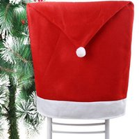 Wholesale price Santa Claus Clause Hat Chair Covers Dinner Chair Cap For Christmas Xmas Decorations Home Party Holiday Festive Red Free DHL