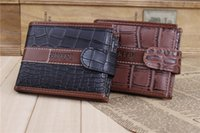 alligator mens wallets - 2015 new Mens High Quality Leather Wallet Pockets crocodile stripe zero wallet Mens dollar Purse