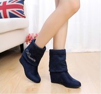 Wholesale Spring Korean version increased paragraph the boots boots Martin boots cotton stretch velvet boots slope with high heeled boots