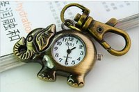 Wholesale New Cute cartoon Classic casual elephant watches Retro bronze Key chain quartz pocket watch