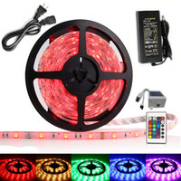 Wholesale 16 ft M High Bright Waterproof Leds SMD5050 RGB kit with DIY Led Strip Light key IR Remote Controller DC12V Power Adapter Supply