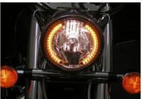 Wholesale 7 quot AMBER LED ANGEL EYE RING MOTORCYCLE HALO HEADLIGHT BLINKER TURN SIGNAL LIGHT