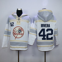 Wholesale Yankees Mariano Rivera Lace Up Pullover Hooded Sweatshirt New York Baseball Hoodies Cheap Baseball Jackets for Men Allow Mix Order