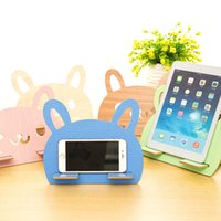 Wholesale A10 Cartoon DIY wooden rabbit ears circle creative universal tablet holder phone holder