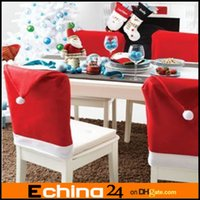 Wholesale Santa Clause Red Hat Chair Back Covers for Christmas Dinner Decor