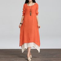 asia cotton - 2016 New Arrival Cotton Linen Women Dress Long Sleeved Loose Vintage Dress Chinese Nation Wind Casual Dress Asia Size L XL XA0202