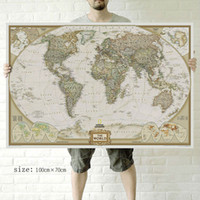 Cheap Modern wall art Vintage English World Map Painting On Canvas Canvas Prints Painting Pictures Decor For Living Room T 720