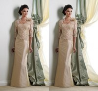 Wholesale Modest Lace Mother of the Bride Dress With Jacket Sheath Strapless Applique Floor Length with Half Sleeve Mother s Formal Wear Party