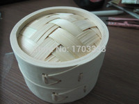 bamboo lid - 100pack Home Tableware Handmade Mini Natural Bamboo Cage Steamer with Lid inch DHL