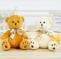 achat en gros de mini-ours en peluche animal-7 pouces 7 '' 18cm Mini Teddy Bear broderie poupée ruban pied ours en peluche Peluches Jouets pour les enfants de cadeaux 201505HX pas cher