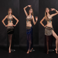belly dancing sequin bra - Belly Dance Costume Performance Belly Beading Stage wear For Women Belly Dance Costumes Dance Bra Belt Skirt Clohing Sets