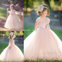 Cheap Blush Ball Gown Flower Girl Dresses For Wedding Cap Sleeves Ribbon Floor Length Prom Dress Children Vestido de daminha